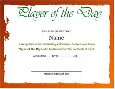 Netball player of the day certificate template netball 10 professional player of the day certificate templates for all sports demplates yadclub Gallery