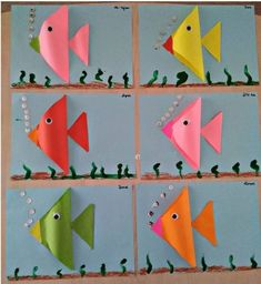 trinagle fish craft - Math craft activities for kids - Fish Crafts Preschool, Math Crafts, Sea Crafts, Craft Activities For Kids, Toddler Crafts, Crafts For Kids, Paper Crafts, Kids Math, Diy Paper