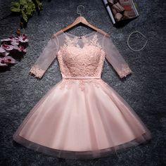 伴娘服短裙2016新款姐妹裙敬酒小礼服粉色中袖短款女主持表演宴会