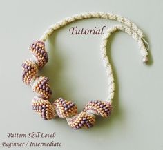 PEACHES AND CREAM Cellini spiral beading tutorial beadweaving pattern beaded jewelry seed bead necklace pattern instruction beading tutorial