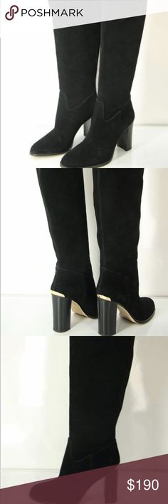 """NWOT Michael Kors Black Suede Knee High Heels SZ9 An Authentic pair of Women's Michael Kors Regina black suede over the knee Boots in a size 9 US. A bold stacked heel accented with goldtone hardware elevates an effortlessly sophisticated over-the-knee boot cast in smooth suede. Perfect for a dressed night out, casual dinner, or accessory for work! Condition:  New with Defects Size: 9                                                20 1/2"""" boot shaft; 15"""" calf circumference Color: Black…"""