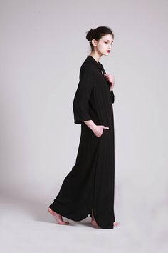 Black Kaftan, Maxi Black Dress, Long Sleeve, Loose Fit, Black Long Dress, Spring Summer Dress, Kaftan Maxi Dress