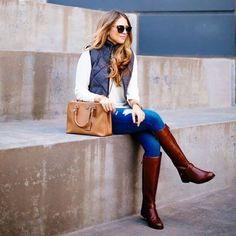 bota, marron, montaria, jeans, colete