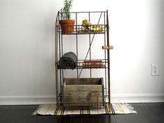 vintage industrial shelf at the perfect height!