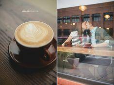 © Anna Lee Media | Oklahoma Engagement & Wedding photographer, coffee shop, shoot through window