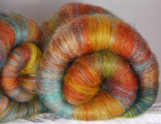 Fiber Batts for spinning - Mexican Tile ( 3.2 oz.)merino, wool, silk, bamboo, sari silk,  firestar