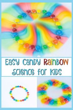 Looking for a fun and easy science experiment for kids? Use candy to conduct science experiments with kids at home or in the classroom. They will have fun making patterns and watching the colors. This activity is perfect for preschool children! #science #scienceforkids #scienceexperiments #kids #kidsactivities #preschool #kindergarten #stem #rainbow #education