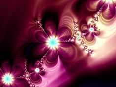 Colorful Girly Abstract Flowers Purple