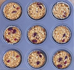 """These customizable """"breakfast"""" baked oatmeal cupcakes are great on-the-go fuel for those days when you have zero time in the morning to prepare a big meal. Oatmeal Cupcakes, Breakfast Cupcakes, Breakfast Recipes, Vegan Breakfast, Oatmeal Muffins, Breakfast Muffins, Breakfast Ideas, Clean Recipes, Real Food Recipes"""