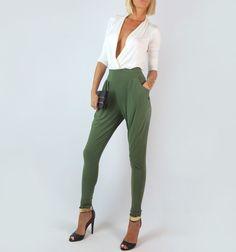 OLIVE GREEN HIGH WAIST HAREM SIDE POCKETS LOOSE SKINNY BAGGY DRESSY PANTS L #FashionTwenty #DressPants