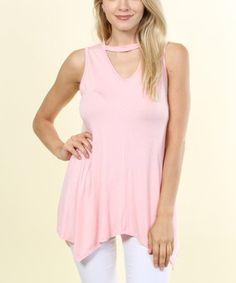 Pink Choker-Cutout Handkerchief Tank #zulily #zulilyfinds