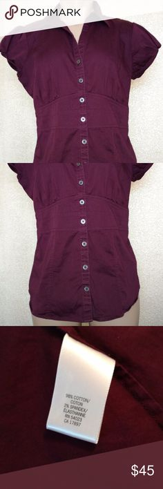 Plum Burgundy Button Up Shirt GORGEOUS button up shirt from Banana Republic. Worn once, in EXCELLENT condition! Banana Republic Tops Button Down Shirts