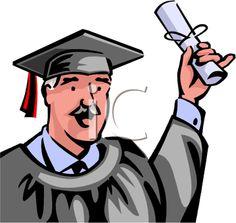 iCLIPART - A senior graduate holding a diploma