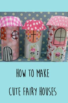Make these gorgeous fairy houses using cardboard rolls and scraps of paper. An utterly gorgeous craft for kids. Make these gorgeous fairy houses using cardboard rolls and scraps of paper. An utterly gorgeous craft for kids. Fairy House Crafts, Arts And Crafts House, Fairy Houses, Toilet Paper Roll Crafts, Paper Crafts For Kids, Projects For Kids, Craft Activities, Preschool Crafts, Castle Crafts