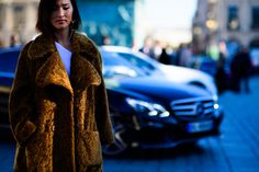 Blogger wearing fur coat