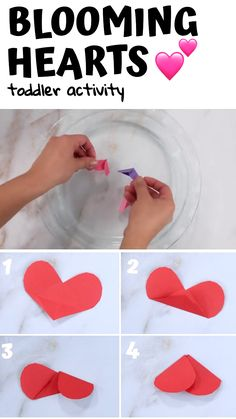 Check out this fun paper heart activity you can do with your toddler or preschooler for valentine's day or any day! Try this sweet Valentine's Day kid's science experiment that will amaze your preschoolers and keep kids entertained indoors. Valentines Day Crafts For Preschoolers, Toddler Valentine Crafts, Valentine's Day Crafts For Kids, Valentine Theme, Valentines Day Activities, Valentines For Kids, Preschool Crafts, Valentines Crafts For Kindergarten, February Toddler Crafts