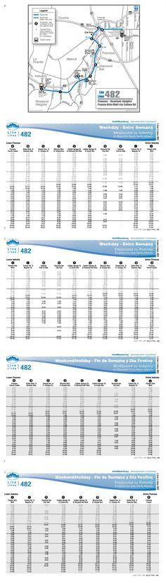 Line 482 serves Pomona, Diamond Bar, Walnut, Baldwin Park, and Industry. Popular destinations include Pomona Community Center, Pomona Civic Center, Pomona Library, DeVry University, Cal Poly Pomona, Lanterman Developmental Center, Via Verde Park & Ride, Bonelli Regional County Park, Diamond Bar Park & Ride, Farm Store at Kellog Ranch, I-Poly High School, So. Cal. AQMD, Diamond Bar Library, University of Phoenix, and Eastwood Village Shopping Center.