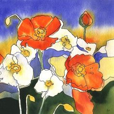 Poppy Watercolor Print  orange and white poppy art  by AlisaPaints on etsy $28