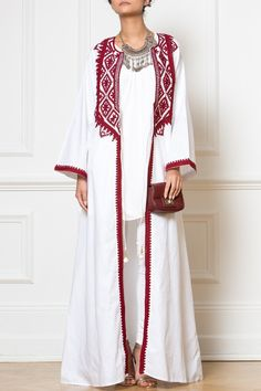 Maxi White Embellished Kimono