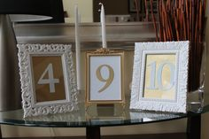 Wooden numbers under glass in vintage frames?