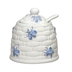 Andrea By Sadek Bee Honey Pot Buzzing Blue Bees Atop A Basket Weave Design On White Ceramic With Spoon From