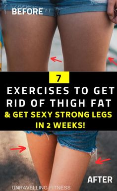 7 EXERCISES TO GET RID OF STUBBORN THIGH FATS.These thigh fat reduction exercises will help you in attaining slimmer and stronger legs in few weeks without the need of following any strict training regime. Losing weight at home fast in a week has never been easier. Follow these stpes to lose thigh fat fast. Lose Thigh Fat Fast, Reduce Thigh Fat, Reduce Belly Fat, Lose Fat, Lose Belly Fat, How To Lose Weight Fast, Fat To Fit, Losing Weight Tips, Weight Loss Tips