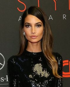Lily Aldridge dark ombré hair