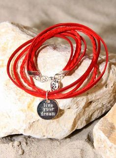 Bynookz Bracelet Red Live Your Dream zilver