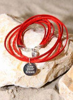 Bynookz Bracelet Red Live Your Dream zilver
