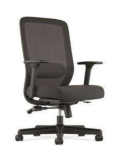 HON Mesh High-back Task Chair - Item # HVL721 - Adjustments for seat height and depth, height- and width-adjustable arms, and 2-to-1 synchro-tilt to provide comfort. Padded, upholstered seat and mesh back create a dramatic presence with long-lasting comfort. Adjustable lumbar allows each user to find the support that matches their unique body type. Clean design aesthetic and slim profile are a nice complement to any office environment. Combines style and performance at an affordable price.