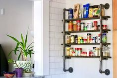 Organizing has become all the rage these days, especially during this crazy era of the Covid pandemic. I mean, why not? With so much chaos and uncertainty out in the world, it only makes sense (and quite a healthy response) to tidy up our lives at home. You can make this charming industrial spice rack that's not only architecturally interesting, it uses reclaimed wood AND it's functional as well. This project is quite simple and can be made in an afternoon. Enjoy! Build A Spice Rack, Diy Spice Rack, Kitchen Spice Racks, Wood Spice Rack, Magnetic Spice Racks, Spice Storage, Spice Organization, Organizing, Spice Jar Labels