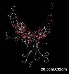 Flower butterfly hotfix rhinestones heat transfer design iron on motifs  patches 1f2da82bb208