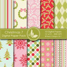 Christmas 7  This listing is for 10 printable High Quality Digital papers.    Each paper measures 12 x 12 inch, 300 DPI, JPEG format.    Great for scrapbooking, making cards, invitations, tags and photographers.