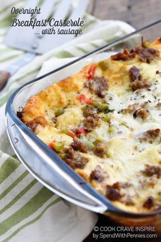 Overnight Breakfast Casserole with Sausage
