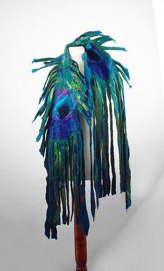 Felted Scarf  Wrap Scarve Wild Peacock Felt Nunofelt Nuno felt Silk Silkyfelted Eco shawl Boho Fiber Art. $149.00, via Etsy.