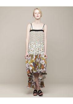 Proenza Schouler tiered printed georgette dress