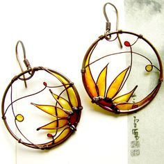 Amazing. Sunflower Earrings. Sunflower Jewelry. Round Copper Earrings. Amber Colors Earrings. Flower Earrings. Flower Jewelry. Wire Jewelry.. $54.00, via Etsy.