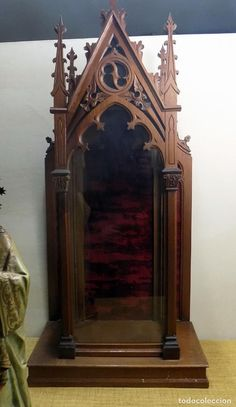 Catholic Altar, Stain Glass Cross, Victorian Furniture, Victorian Gothic, Wood Carving, Shadow Box, Wood Crafts, Stained Glass, Glow