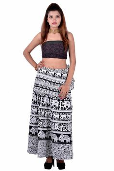 Long Regular Size Floral Indian Skirts for Women Indian Skirt, Wrap Around Skirt, Printed Cotton, Black And White, Floral, Skirts, Ivory, Animal, Color