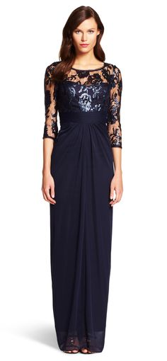 Sequin Illusion Gown - Adrianna Papell