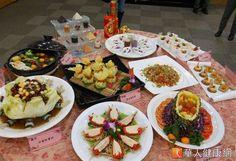 台大醫院營養師和廚師團隊設計10道地中海創意素食年菜,每一人份僅有900大卡。(攝影/駱慧雯)
