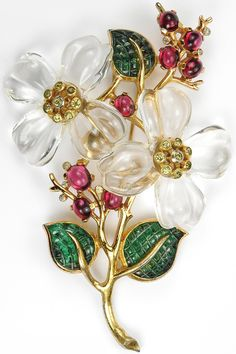 Trifari 'Alfred Philippe' Gold Invisibly Set Emerald Leaves Double Jelly Belly Flower Pin Clip