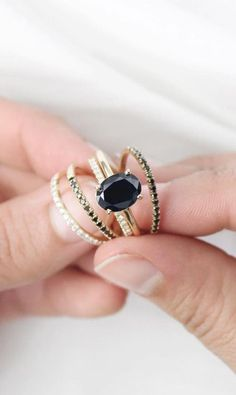 Black Diamond Custom Engagement Ring | Vrai & Oro
