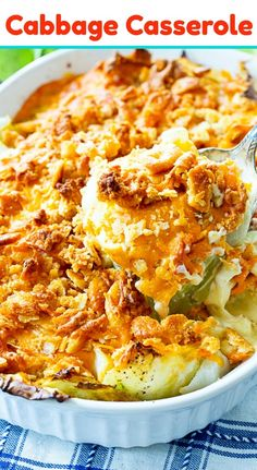 Old-Fashioned Cabbage Casserole topped with cheddar cheese and cracker crumbs. Side Dish Recipes, Vegetable Recipes, Vegetarian Recipes, Cooking Recipes, Healthy Recipes, Recipes Dinner, Crockpot Recipes, Dessert Recipes, Steak Recipes