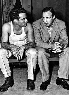 Montgomery Clift & Marlon Brando on the set of From Here To Eternity (1953)