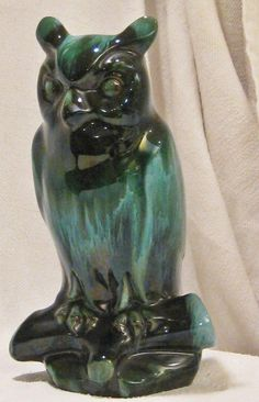 """Vintage BMP Large 10"""" OWL 219 Green Bird Canada Blue Mountain Pottery Mint Cond 