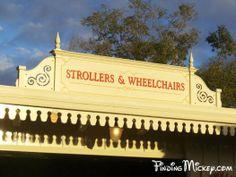 Entrance Plaza - Stroller & Wheelchair Rental Sign