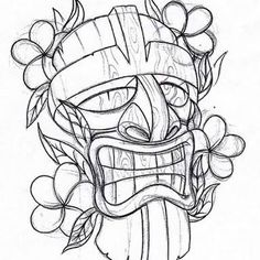 Tiki tattoo for kel Tiki Tattoo, Hawaiianisches Tattoo, Tattoo Drawings, Art Drawings, Maori Tattoos, Borneo Tattoos, Tribal Tattoos, Tattoo Flash, Tattoo Studio