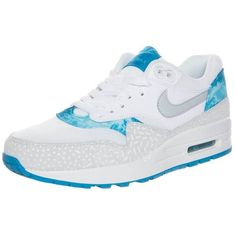 Nike Sportswear AIR MAX 1 Trainers/gry mstlt lcqrclrwt ($105) ❤ liked on Polyvore featuring shoes, white, round toe shoes, nike, white flat shoes, round toe flat shoes and nike shoes