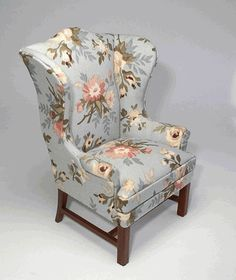 Floral wing chair